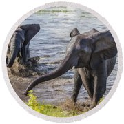 Leaving The River Round Beach Towel