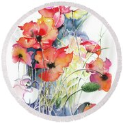 Round Beach Towel featuring the painting Leaving The Shadow by Anna Ewa Miarczynska