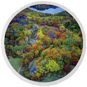 Lebanon Hills Park Eagan Mn Autumn II By Drone Round Beach Towel