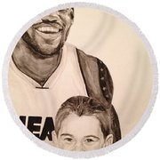 Round Beach Towel featuring the painting Lebron And Carter by Tamir Barkan