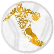 Lebron James Cleveland Cavaliers Pixel Art 15 Round Beach Towel