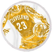 Lebron James Cleveland Cavaliers Pixel Art 20 Round Beach Towel