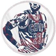Lebron James Cleveland Cavaliers Pixel Art 25 Round Beach Towel