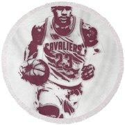 Lebron James Cleveland Cavaliers Pixel Art 4 Round Beach Towel by Joe Hamilton