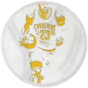 Lebron James Cleveland Cavaliers Pixel Art 5 Round Beach Towel