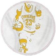 Lebron James Cleveland Cavaliers Pixel Art 5 Round Beach Towel by Joe Hamilton
