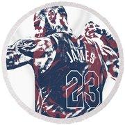Lebron James Cleveland Cavaliers Pixel Art 53 Round Beach Towel