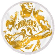 Lebron James Cleveland Cavaliers Pixel Art 6 Round Beach Towel