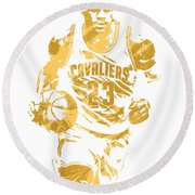 Lebron James Cleveland Cavaliers Pixel Art 7 Round Beach Towel