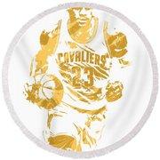 Lebron James Cleveland Cavaliers Pixel Art 7 Round Beach Towel by Joe Hamilton