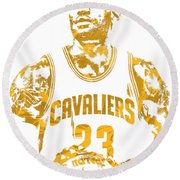 Lebron James Cleveland Cavaliers Pixel Art 8 Round Beach Towel