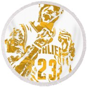Lebron James Cleveland Cavaliers Pixel Art 9 Round Beach Towel