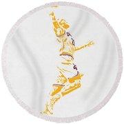 Lebron James Cleveland Cavaliers Pixel Art Round Beach Towel by Joe Hamilton