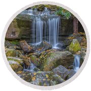 Leconte Creek Waterfall 2 Round Beach Towel