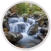 Leconte Creek Watrefall Round Beach Towel