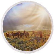 Led By The Light Round Beach Towel
