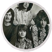 Led Zeppelin Band Autographs Round Beach Towel