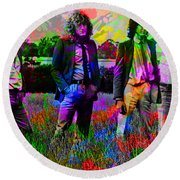 Led Zeppelin Band Portrait Paint Splatters Pop Art Round Beach Towel by Design Turnpike