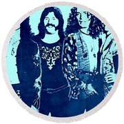 Led Zeppelin Blue  Round Beach Towel