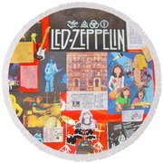 Led Zeppelin Color Collage Round Beach Towel