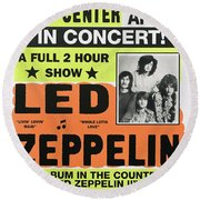 Led Zeppelin Concert Poster 1970 Round Beach Towel