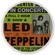 Led Zeppelin Live In Concert At The Baltimore Civic Center Poster Round Beach Towel