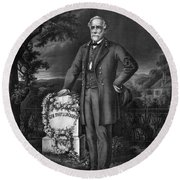 Lee Visits The Grave Of Stonewall Jackson Round Beach Towel