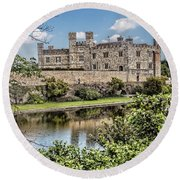 Leeds Castle, Uk Round Beach Towel by Shirley Mangini