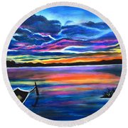 Left Alone A Seascape Boat Painting At Sunset  Round Beach Towel