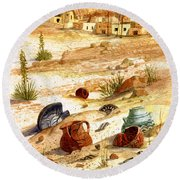 Round Beach Towel featuring the painting Left Behind - Indian Pottery by Marilyn Smith
