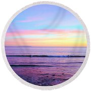 Left Right Sunset Round Beach Towel
