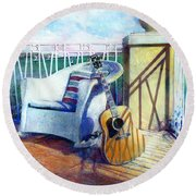Round Beach Towel featuring the painting Lefty Left by Andrew King
