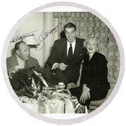 Round Beach Towel featuring the photograph Lefty O Doul Joe Dimaggio And Marilyn Monroe Circa 1955 by Peter Gumaer Ogden