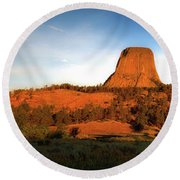 Legend Of The Buffalo Devils Tower National Monument Wyoming Panorama Round Beach Towel