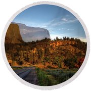 Legend Of The Buffalo Devils Tower National Monument Wyoming Round Beach Towel