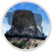 Legend Of The Buffalo Devils Tower National Monument Wyoming Vertical Round Beach Towel