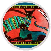 Legend Of The Siamese - Cat Art By Dora Hathazi Mendes Round Beach Towel by Dora Hathazi Mendes
