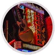 Legends Corner Nashville Round Beach Towel by Stephen Stookey