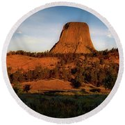 Legends Of Devils Tower National Monument Wyoming Panorama Round Beach Towel