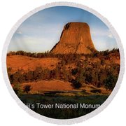 Legends Of Devils Tower National Monument Wyoming Panorama With Text Round Beach Towel