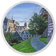 Leiden, The Church And The Castle Round Beach Towel