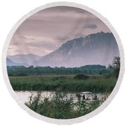 Leisure Boat On River Adda In Northern Italy, Close To Lake Como - Reflection Of Italian Alps Round Beach Towel