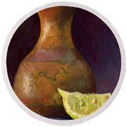 Lemon And Horsehair Vase A First Meeting Round Beach Towel