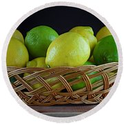 Lemon And Lime Basket Round Beach Towel by Ray Shrewsberry