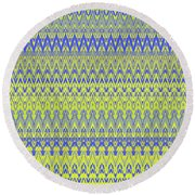 Lemon Blue Mirage Tapestry Round Beach Towel by Ann Johndro-Collins