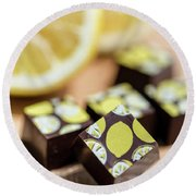 Lemon Chocolate Round Beach Towel by Sabine Edrissi