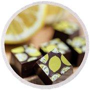 Lemon Chocolate Round Beach Towel