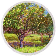 Lemon Grove Of Citrus Fruit Trees Round Beach Towel