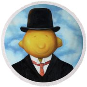 Lemon Head Pro Image Round Beach Towel by Leah Saulnier The Painting Maniac