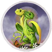 Lemon Lime Dragon Round Beach Towel by Stanley Morrison